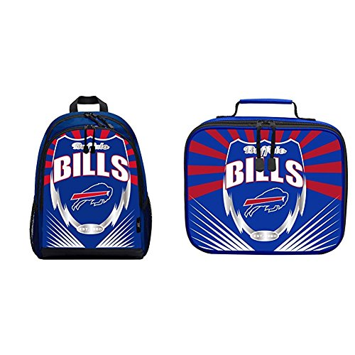 Officially Licensed NFL Lightning Kids Sports Backpack and Lunch Kit, Buffalo Bills