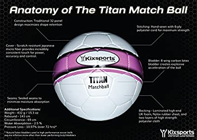 Kixsports Titan Elite Match Ball - Professional Level Match Ball for High Performance Training & Play