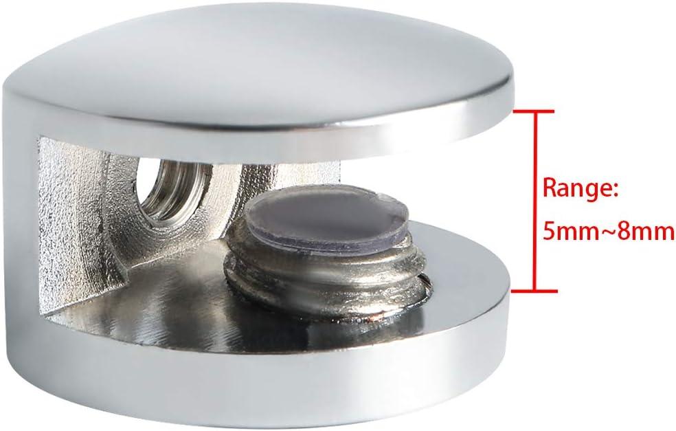 cristal adaptativo de 5 a 8 mm de grosor EBL3008-4P acabado de acero inoxidable pulido 4 piezas Sayayo Abrazadera de vidrio s/ólido para estante de vidrio soporte de pared para montaje en pared