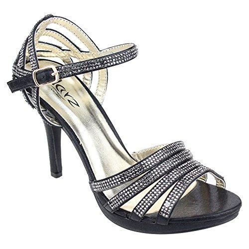 Aarz Mujeres del partido de tarde de las señoras de baile de la boda del alto talón de Diamante de la sandalia nupcial tamaño de los zapatos (Oro, Plata, Negro, Champagne, Rojo) Negro