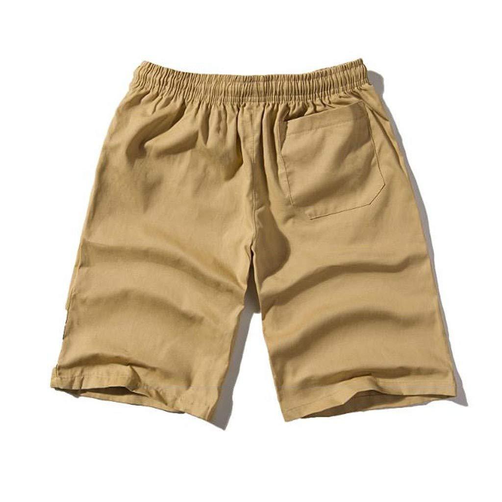 3fabbacf158f iLXHD Men's Short Pants Summer Casual Solid Pocket Drawstring Cotton ...