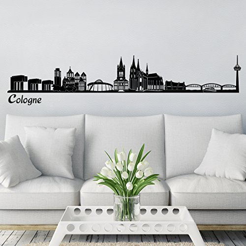 Wandkings Skyline wall sticker wall decal - 48 x 10 inch in black - Your city selectable - COLOGNE