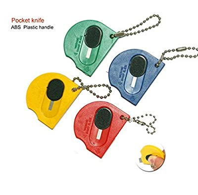 Mini Retractable Touch Portable Utility Pocketknives Pocket Knife Small Knives Keychain (Pack of 10)