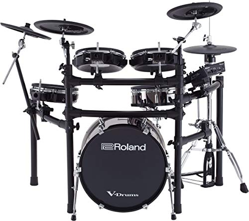 Roland High-performance, Mid-level Electronic V-Drum Set (TD-25KVX) with 12″ snare pad, 10″ tom pad (x3), 12″ crash v-cymbal (x2), KD-180 kick pad, and MDS-9SC stand