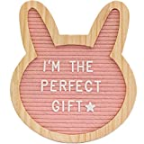 """Felt Letter Board- Pink Bunny 10"""" x 10""""- Baby Milestone Sign & Kids Room Décor. Perfect Shower Gift. 340 White Plastic Changeable Characters, Symbols, Emojis W/Canvas Bag & Free Gift"""