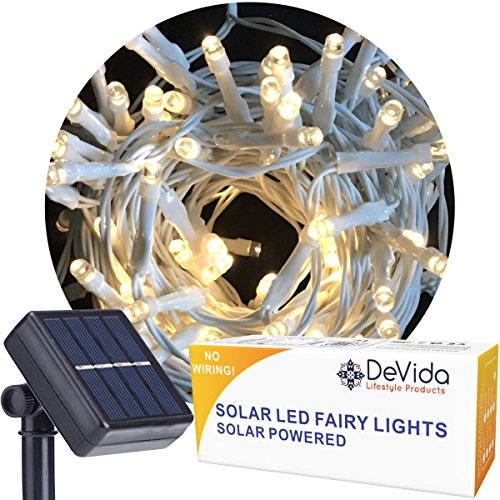 DeVida Warm White Solar String Light on White Cord, Hassle Free 100 LED Outdoor Waterproof Set for Decorative Wedding Arch, Picket Fence, Wall, Tree, Patio, Easy Install (Warm White on ()