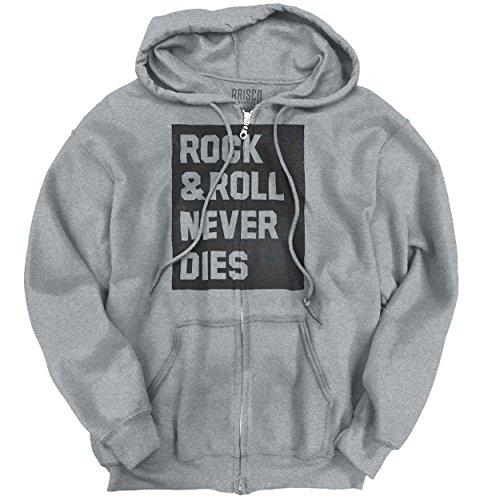 Die Zip Hoodie - Rock & Roll Never Dies Metal Hardcore Fan Zipper Hoodie
