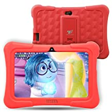 Dragon Touch Y88X Plus 7 inch Kids Tablet Disney Edition, Quad Core Android 5.1 Lollipop, IPS Display, Kidoz Kids App Pre-Installed w/ Bonus Disney Authorized Games App and Audio Book -GMS Certified-Red