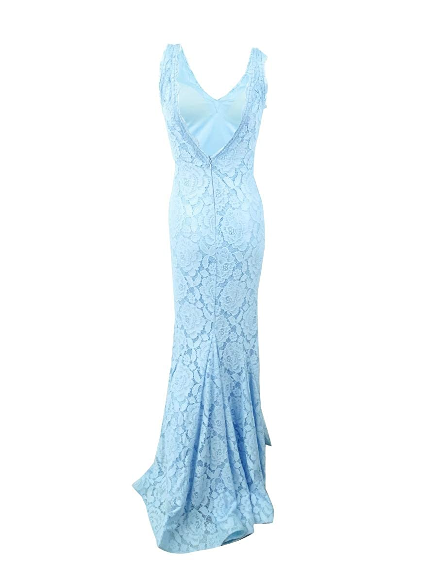 Betsy /& Adam Womens Lace V-Neck Mermaid Gown