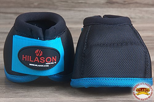 HILASON SML HORSE BALLISTIC OVERREACH NO TURN BELL BOOTS PAIR BLACK TURQUOISE by HILASON (Image #4)
