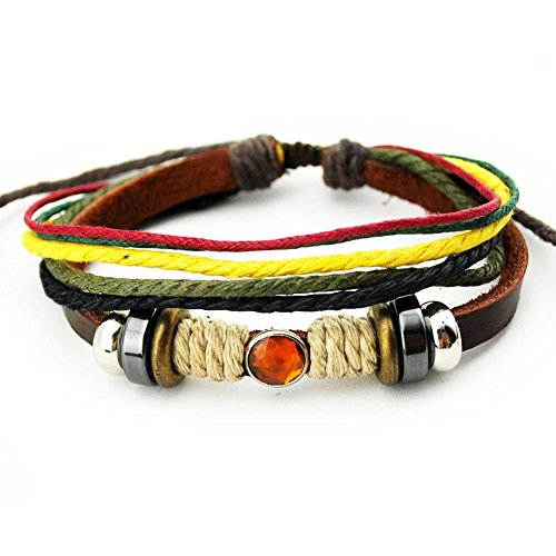 Bridal Costume Jewelry Toronto (Real Spark Genuine Leather Bracelet Lucky Orange Crystal Multicolor String Wrap Bracelete)