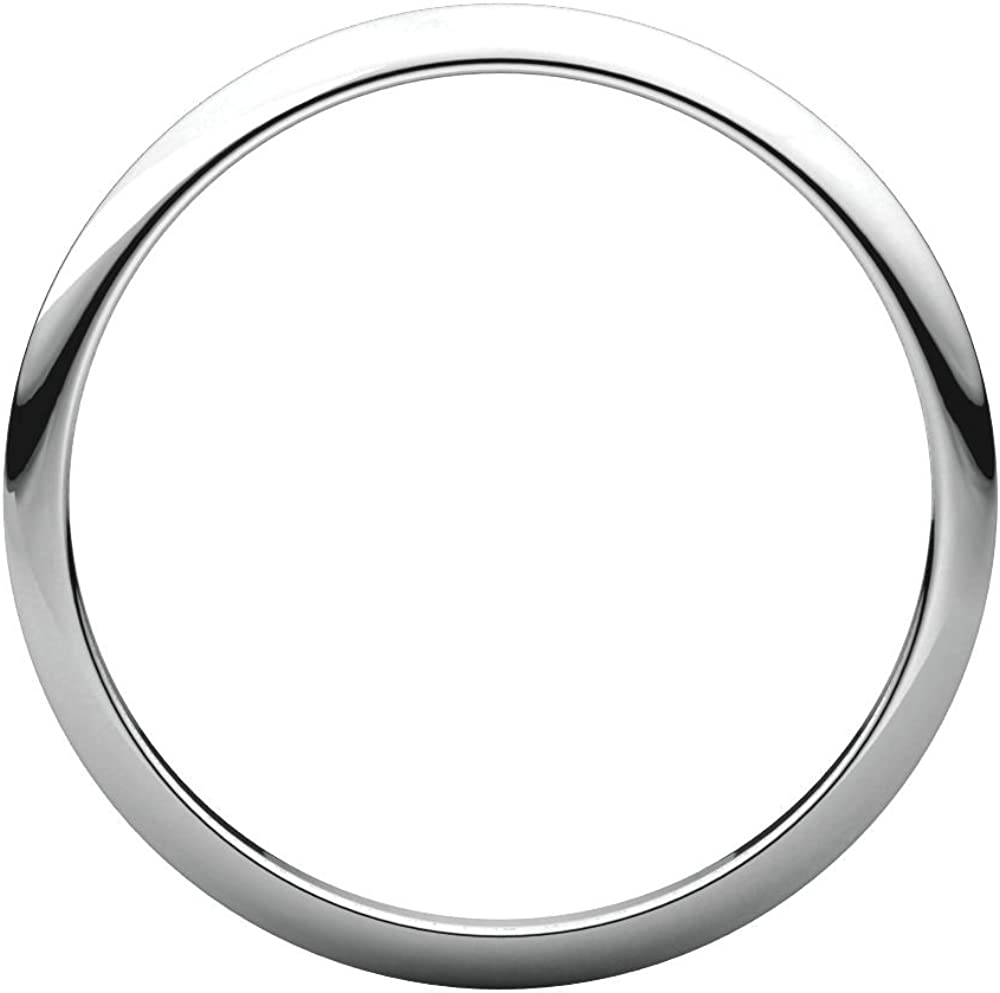 14K White Gold 1.5mm Half Round Band