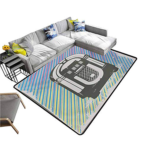 Oriental Garden Box Music - Office Chair Floor Mat Foot Pad Jukebox,Radio Party Dark Grey Vintage Music Box with Abstract Grunge Colorful Stripes Image,Multicolor 36