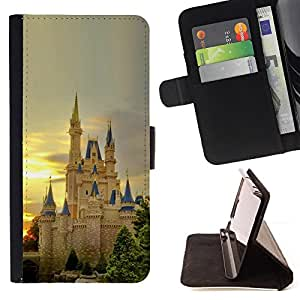 For Samsung Galaxy S6 EDGE - Nature European Castle /Funda de piel cubierta de la carpeta Foilo con cierre magn???¡¯????tico/ - Super Marley Shop -