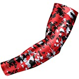 Moisture Wicking Sports Compression Arm Sleeve - Youth & Adult Sizes - Baseball Football Basketball (Red Digital Camo, YM) by Bucwild Sports