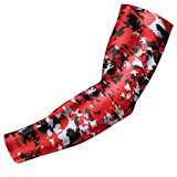 Moisture Wicking Sports Compression Arm Sleeve - Youth & Adult Sizes - Baseball Football Basketball (Red Digital Camo, YL) by Bucwild Sports