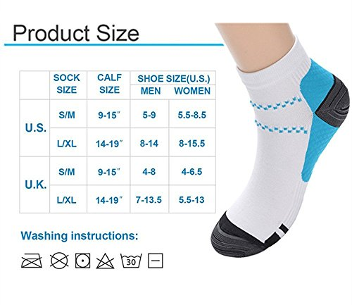 3 Pairs Compression Socks for Women and Men Sport Plantar Fasciitis Arch Support Low Cut Running Gym Compression Foot Socks / Foot Sleeves Best for Sports (Large/X-Large, Blue White)