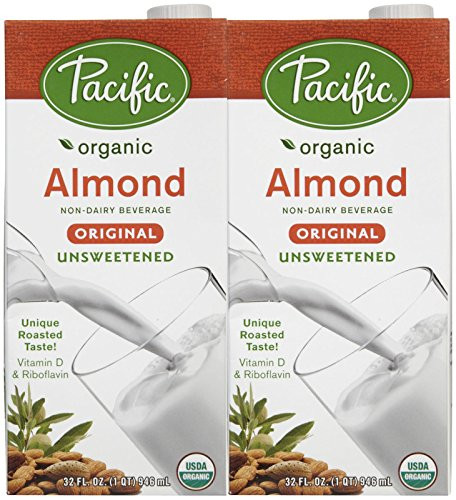 Pacific Foods Organic Original Almond Milk,Unsweetened,32 Oz,2 Pack