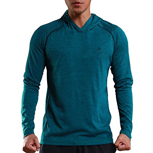 Hooded Casual Long Sleeve - Gerlobal Mens Gym Workout Active Muscle Bodybuilding Long Sleeve Hoodies Casual Hooded Sweatshirts Blue,X-Large