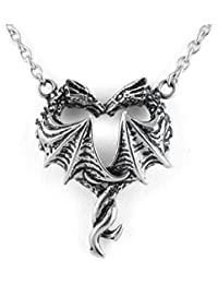 Women's Silver-Toned Stainless Steel Steamin' Hot Love Dragon Heart Necklace