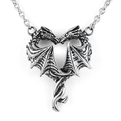 (Controse Women's Silver-Toned Stainless Steel Steamin' Hot Love Dragon Heart Necklace )