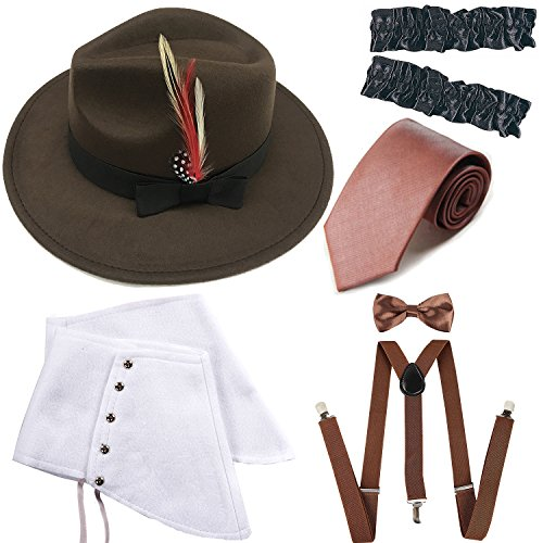 1920s Trilby Manhattan Gangster Fedora Hat, Gangster Spats,Garters Armbands,Suspenders Y-Back Elastic Trouser Braces,Pre Tied Bow Tie,Gangster Tie (OneSize, Brown) -