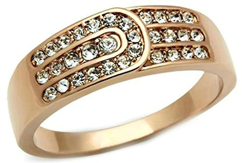 Alimab Jewelery Rings Gold Plated Womens Wedding Bands Feather Rose Gold