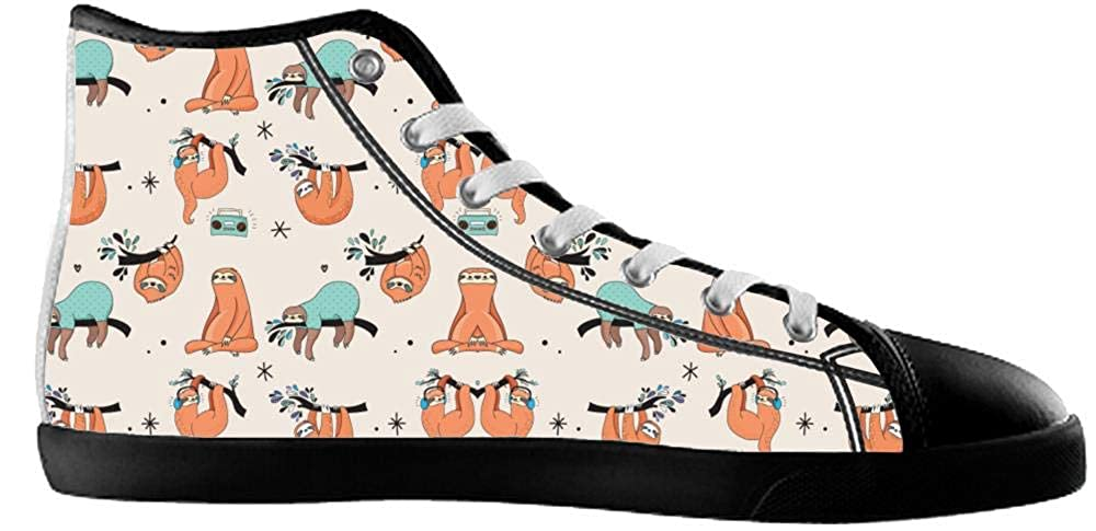 BrowneOLp Canvas Womens Shoes Shoes with Sloth High Top Canvas Womens Shoes