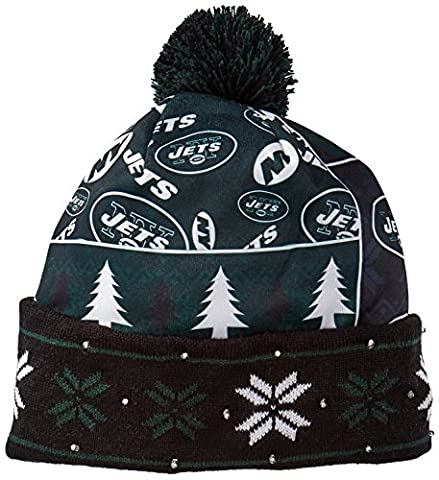 NFL New York Jets Busy Block Printed Light Up Beanie, One Size, Green - Santa Nfl New York Jets