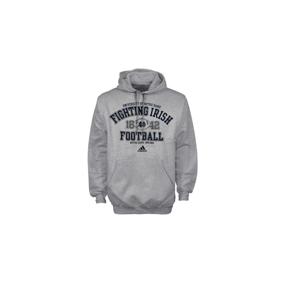 adidas Notre Dame Fighting Irish Ash Gut Check Football Practice Pullover Hoody Sweatshirt