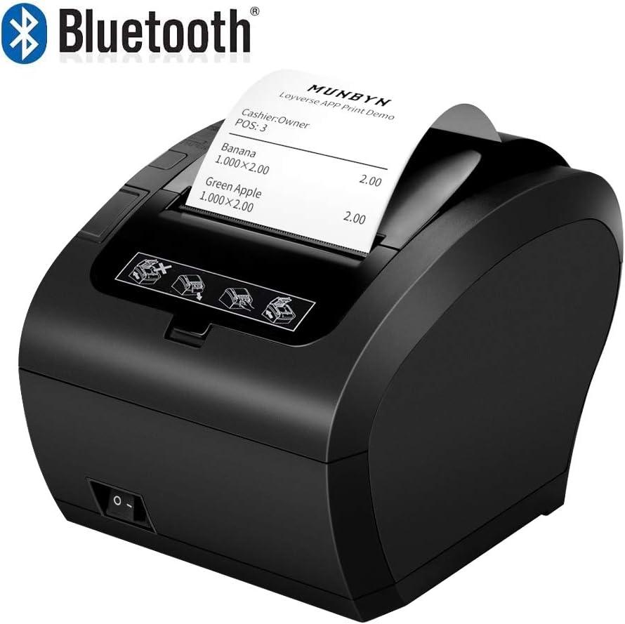 MUNBYN Impresora de Ticket Térmica Bluetooth, Impresora de Recibos 80mm, Ticketera Velocidad 300mm/s ESC/POS Compatible con Android/Windows, Negra