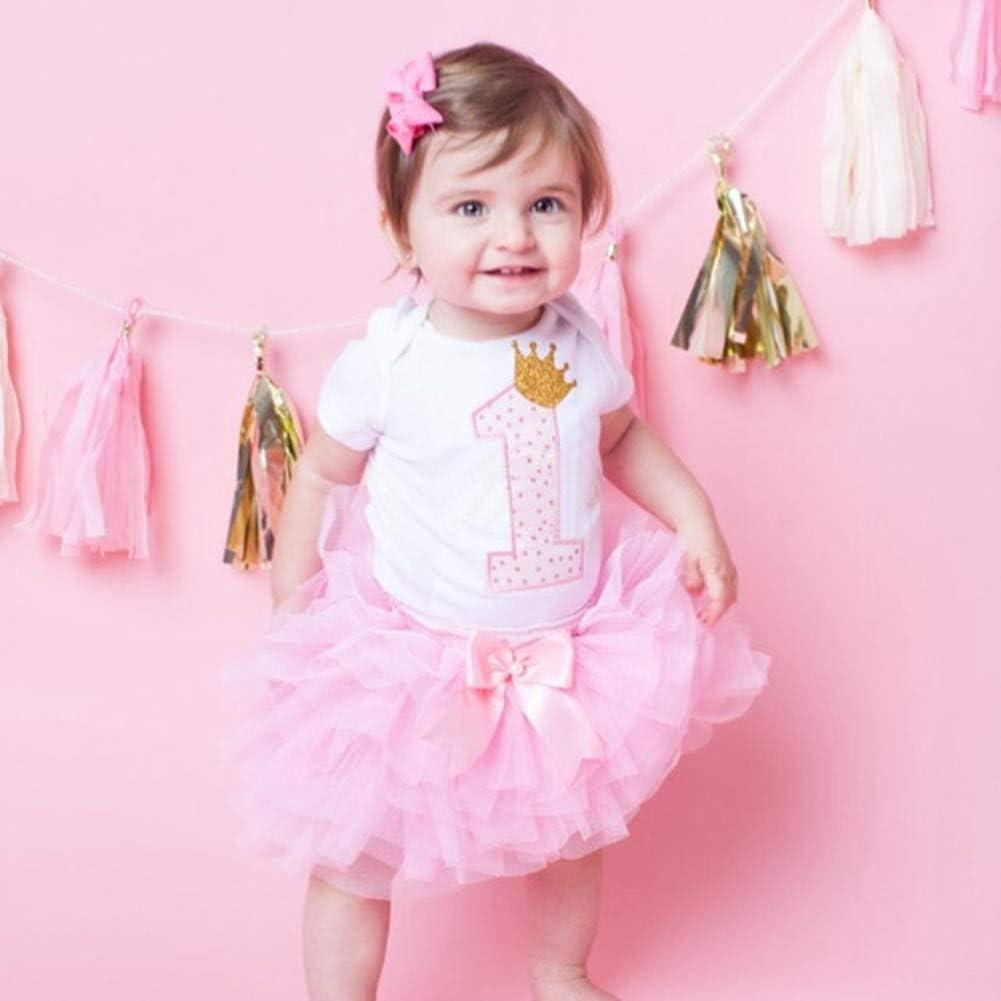 Bowknot Headband + T-Shirt + Layered Tulle Tutu Skirt MaiYi One-Year-Old Babys Birthday Party Dress