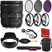 Canon EF 24-70mm f/4L IS USM Lens with 3 Peice Filter Kit, Blower, Lens Hood, Lens Pen, Case, Cap Keeper, Cleaning Cloth, 3 Piece Macro Closeup Kit
