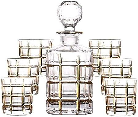 AOIWE Decantador de Whisky Set de 7 Piezas Juego de Whisky Decanter Línea de Cristal de Cristal sin Plomo Botella de Vino Tinto Dibujo de Oro Línea de Oro Jarra de Vino Regalo de la casa