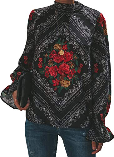Dearlovers Women's Turtleneck Floral Printed Long Sleeve Loose Casual Blouse Tops Tshirts 2XL Multicolored ()