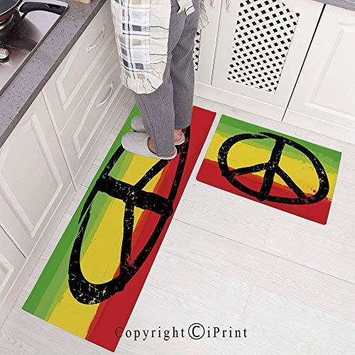Kitchen Rugs,2 Pieces Non-Slip Flannel Kitchen Mat Rubber Backing Doormat,Grunge Style Watercolor Design African Flag Colors Hippie Peace Sign Decorative Runner Rug Set 15.7