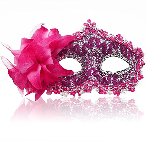 FaceWood 11Color Gorgeous Masquerade Mask For Women,Handmade Lace Diamante Mask,Halloween Mask,Christmas Mask,Party Mask.(Light Red)