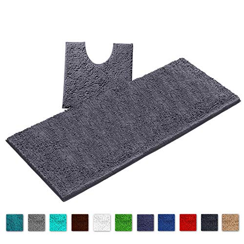 LuxUrux Bath Mat Runners Set for Bathroom Rugs Long Floor Mats Extra Soft Absorbent Thickening Shaggy Microfiber Machine-Washable (Curved Runner Set, Dark Gray)