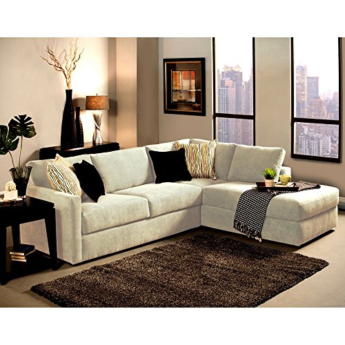 Furniture of America Faith Deluxe Contemporary Microfiber Fabric Upholstered 2-piece Sectional White by Furniture of America