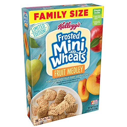 Kellogg's Frosted Mini-Wheats Breakfast Cereal, Fruit Medley, 20.4 Oz (Blend of Apple, Peach, and Pear)