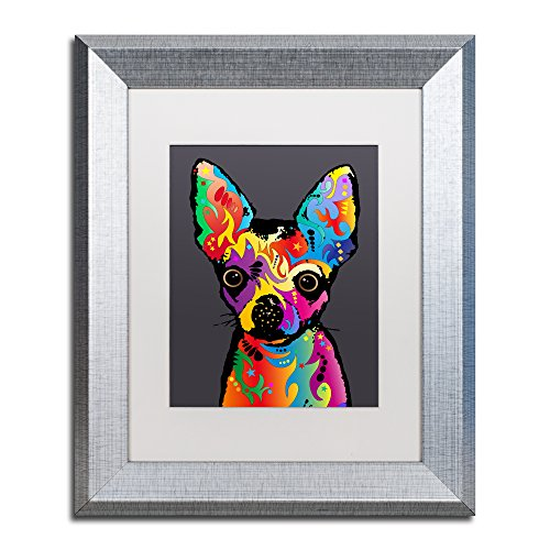 Chihuahua Dog Grey by Michael Tompsett, White Matte, Silver Frame 11x14-Inch