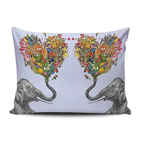 XIAFA Home Custom Pillowcase Petal Heart and Elephant Art Simple Decorations Sofa Throw Pillow Case Cushion Cover One Sided Printed Design Standard 20X26 Inch (Set of -