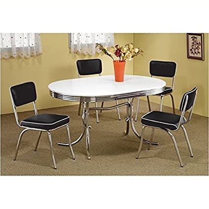 Attirant Coaster Oval Retro Dining Table With 4 Chairs In Chrome
