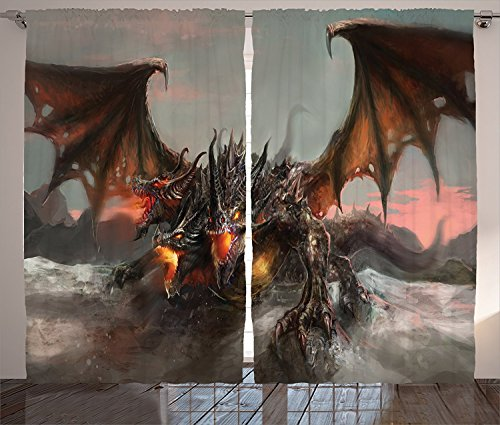 [Fantasy World Decor Curtains Illustration of Three Headed Fire Breathing Dragon Large Monster Gothic Theme Living Room Bedroom Decor 2 Panel Set Brown Grey,Size:2 x 54