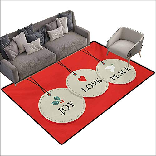 Inner Door Rug Christmas Joy Love and Peace Words Pendants Merry Christmas Holiday Celebration Theme with Anti-Slip Support W67 xL102 Vermilion - Cape Pendant Cod Outdoor