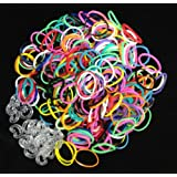 1200 Loom Bands + 50 C Clips - REFILL BAG (Choose Color Pack: Mixed Colors, Navy, White, Black, Red, Turquoise, Lime Green, Yellow, Purple, Ocean Blue, Pink, Orange) 100% Compatible with All Bands (Mixed Colors)