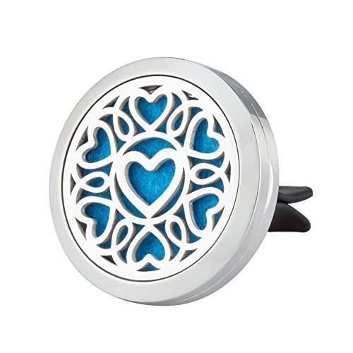 Aromatherapy Car Air Freshener - Essential Oil Diffuser Vent Clip - Heart Stainless Steel Locket Accessories with 8 Color Pads By Jenia