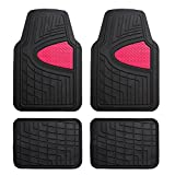 FH Group Heavy Duty Tall Channel F11311PINK Rubber Floor Mat Pink Full Set Trim to Fit