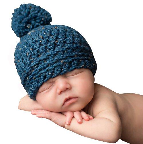 Yarn Pom Pom Baby (Melondipity's Blue Speckled Baby Boy Pom Pom Beanie (0-6 months))