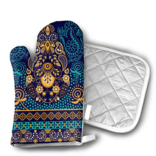 - HEPKL Oven Mitts and Potholders Paisley Wallpaper Non-Slip Grip Heat Resistant Oven Gloves BBQ Cooking Baking Grilling